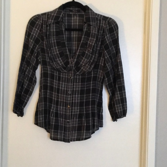 Express Tops - Black and silver plaid ruffle blouse